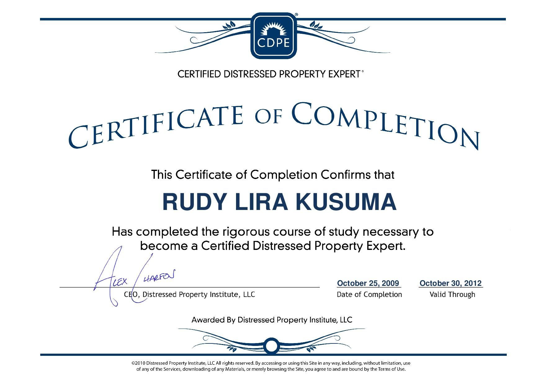 rudy lira kusuma certified distressed property expert